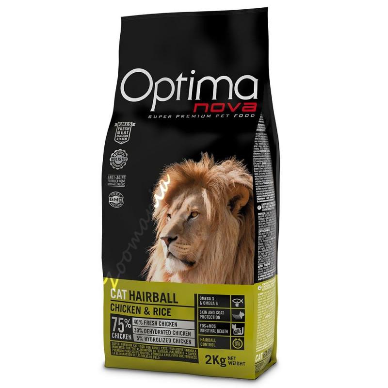 """Храна за котки от висок клас - Optima Nova """"Cat Hairball Пиле с ориз"""""""