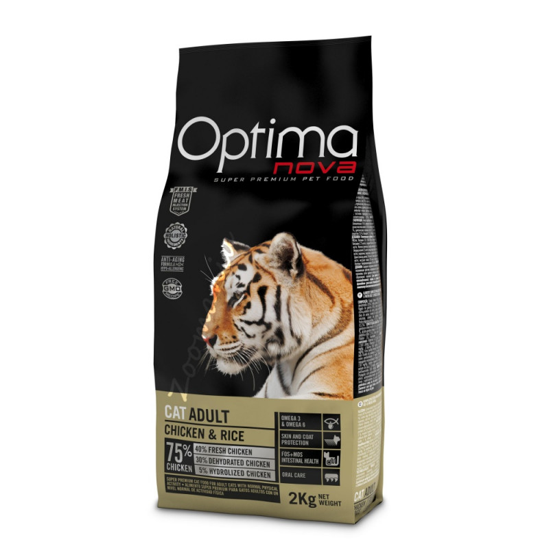 """Висок клас храна за котки (супер премиум качество) - Optima Nova """"Cat Adult Пиле с ориз"""" - 2 кг"""