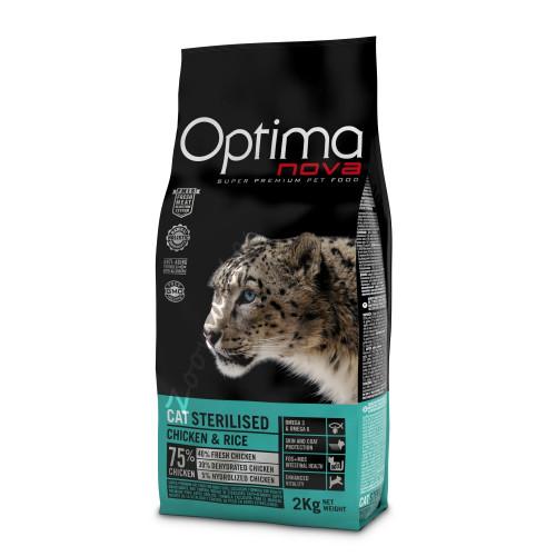 """Optima Nova """"Cat Sterilised Пиле с ориз"""" - 8 кг"""
