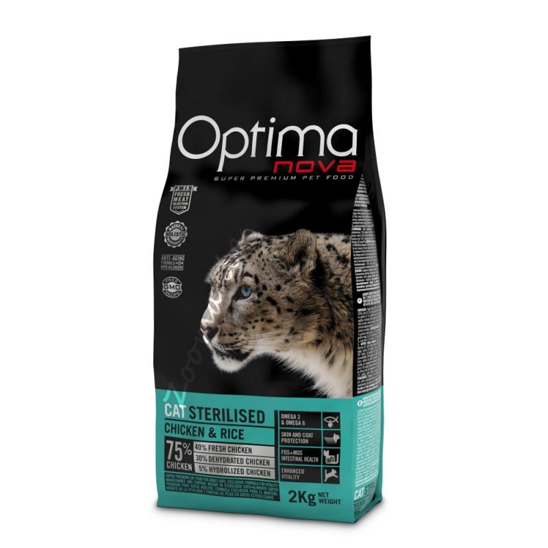 """Храна за котки от висок клас (супер премиум качество) - Optima Nova """"Cat Sterilised Пиле с ориз"""" - 8 кг"""