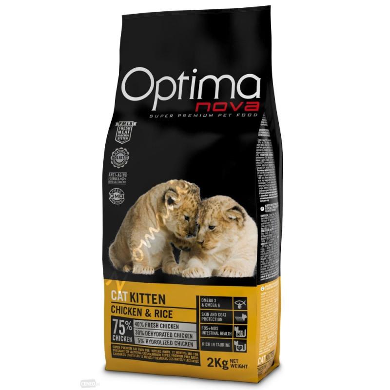 """Висок клас храна за котенца и бременни или кърмещи котки (супер премиум качество) - Optima Nova """"Kitten Пиле с ориз"""" - 2 кг"""