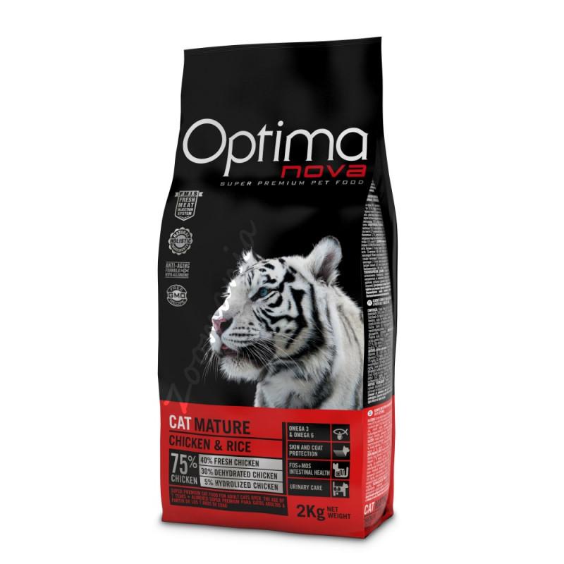 """Висок клас храна за възрастни котки (супер премиум качество) - Optima Nova """"Cat Mature Пиле с ориз"""" - 8 кг"""