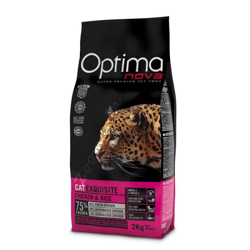 """Висок клас храна за взискателни котки (супер премиум качество) - Optima Nova """"Cat Exquisite Пиле с ориз"""" - 2 кг"""