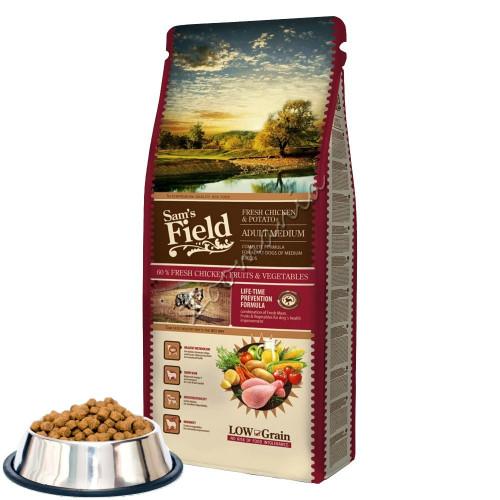 """Първокласна насипна храна за кучета от средно едри породи Sam's Field """"Fresh Chicken & Potato Adult Medium"""""""
