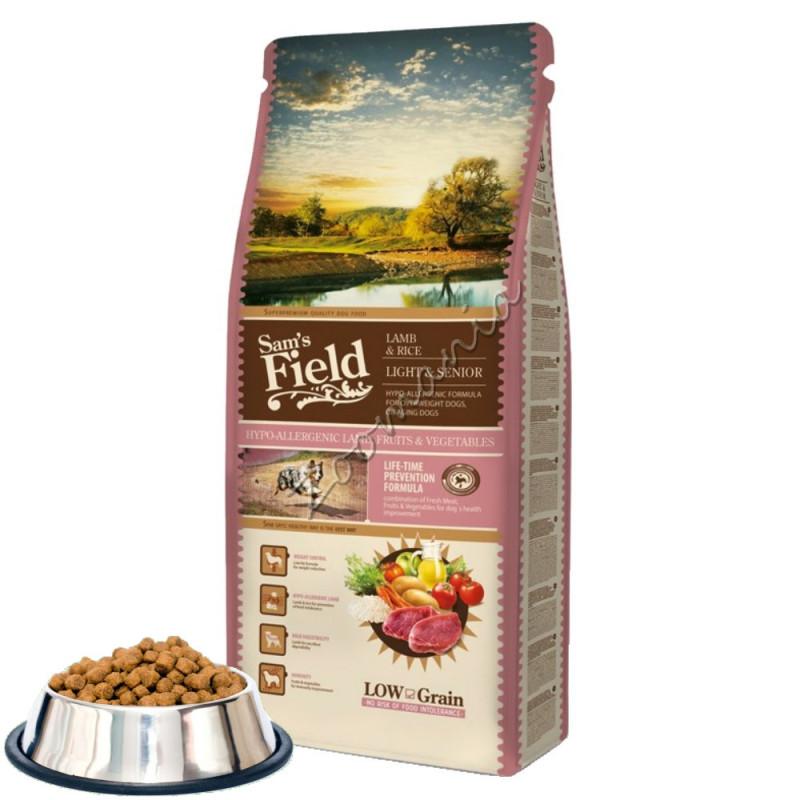 """Първокласна диетична храна за кучета от всички породи Sam's Field """"Lamb & Rice – Light and Senior"""""""