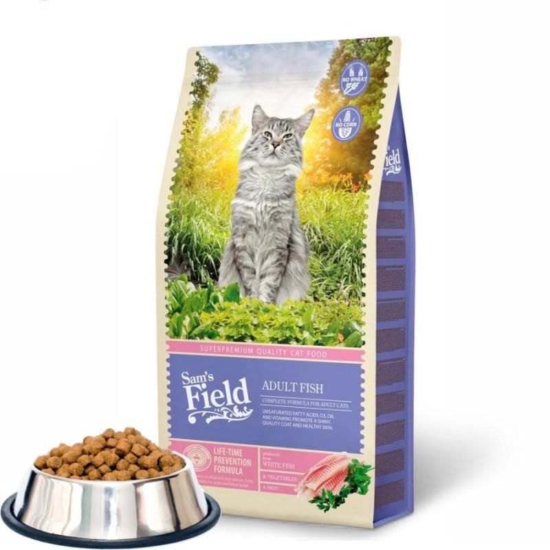 """Насипна първокачествена храна за котки Sam's Field """"Cat Adult Fish"""""""