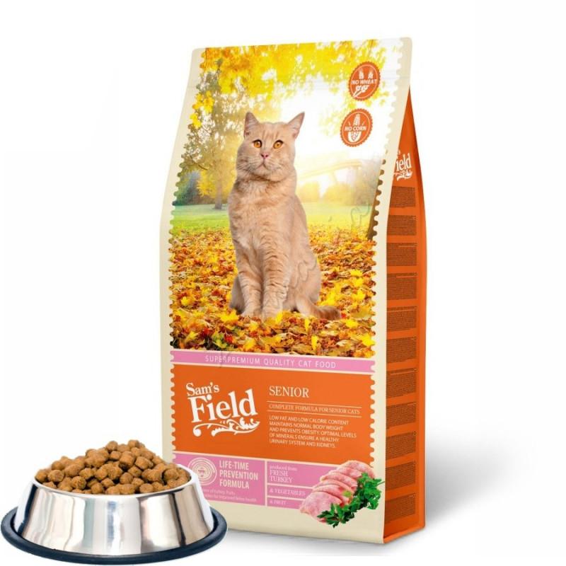 """Насипна първокачествена храна за възрастни котки в пенсионна възраст Sam's Field """"Cat Senior"""""""