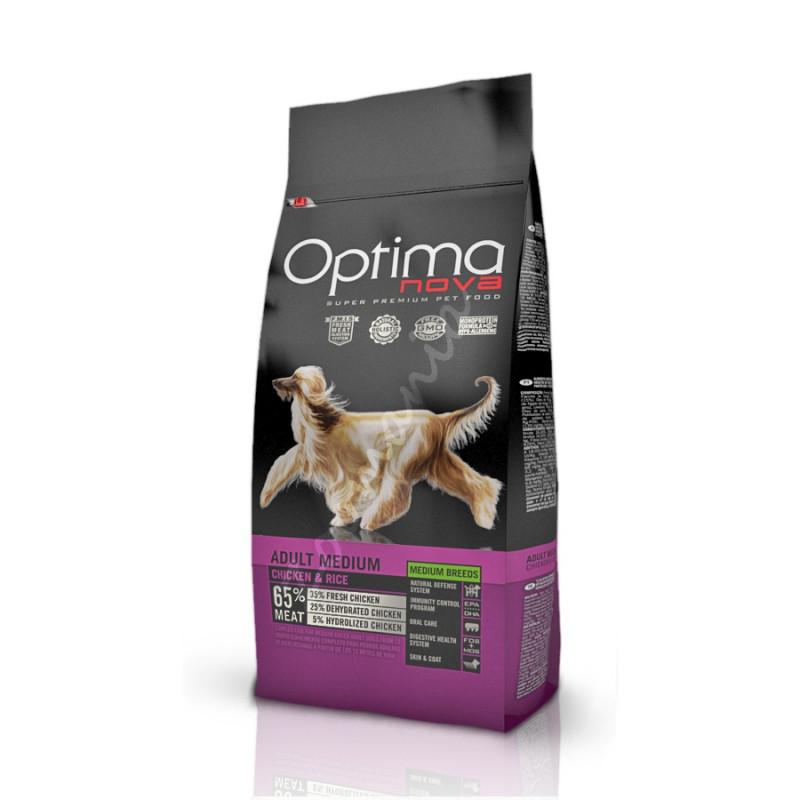 Висококачествена храна за кучета от средно големи породи - Optima Nova Dog Adult Medium Chicken & Rice - 2 кг