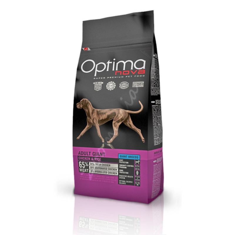 Първокачествена храна за кучета Optima Nova Dog Adult Giant Chicken & Rice - 12 кг
