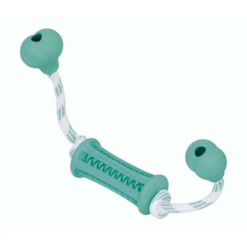 Кучешка играчка Dental Line Гумен кокал с въже - 37 х 9 см
