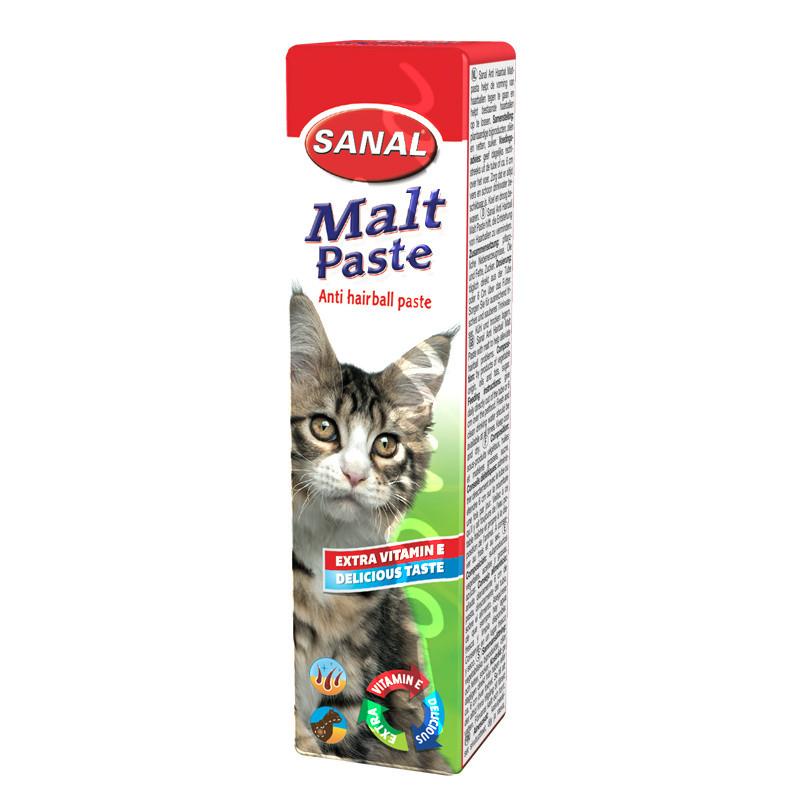 Хранителна добавка за котки против космени топки - Sanal Malt Anti Hairball Paste - 20 гр