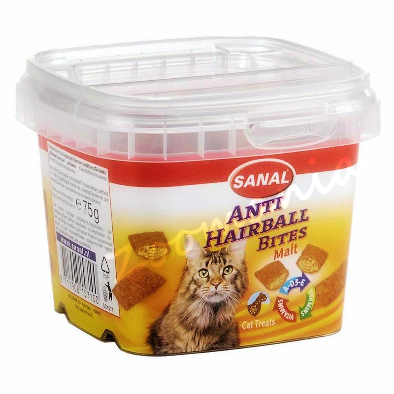 Котешко лакомство против космени топки - Sanal Malt Anti Hairball Bites - 75 гр