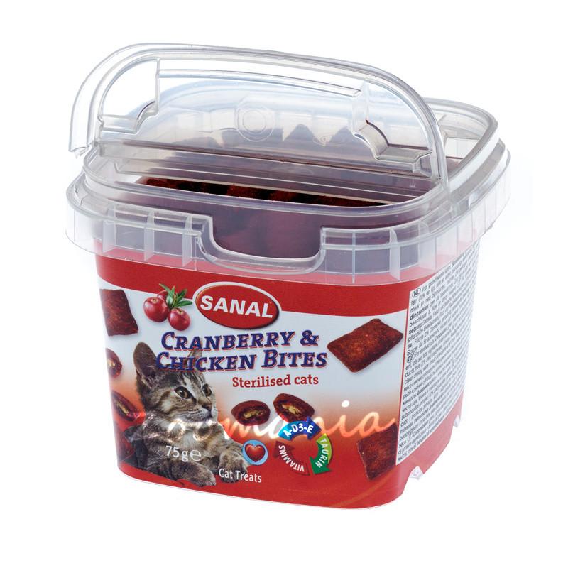 Лакомство за кастрирани котки за здравословен уринарен тракт - Sanal Cranberry & Chicken Bites - 75 гр