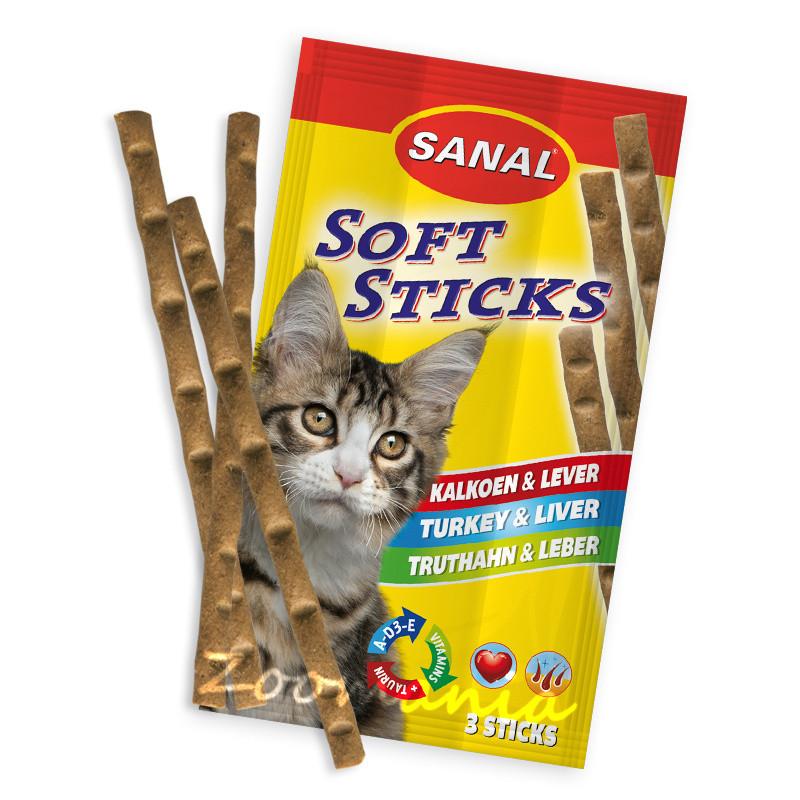 Лакомство за котки с пуешко и дробчета - Sanal Turkey & Liver Sticks - 3 бр.