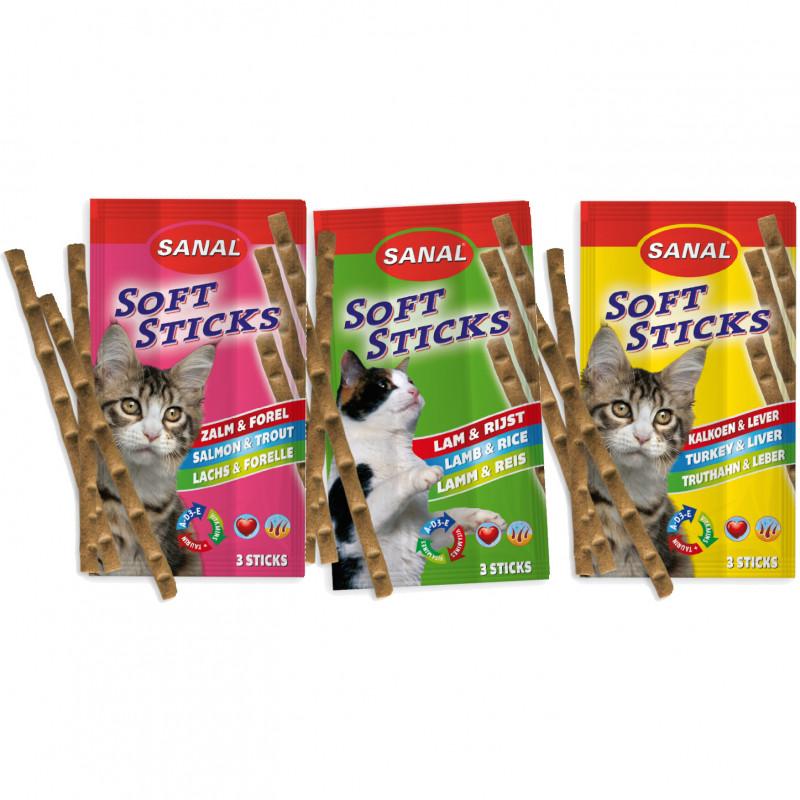 Котешки лакомства с таурин за отлично зрение - Sanal Cat Soft Sticks - 3x3 бр.