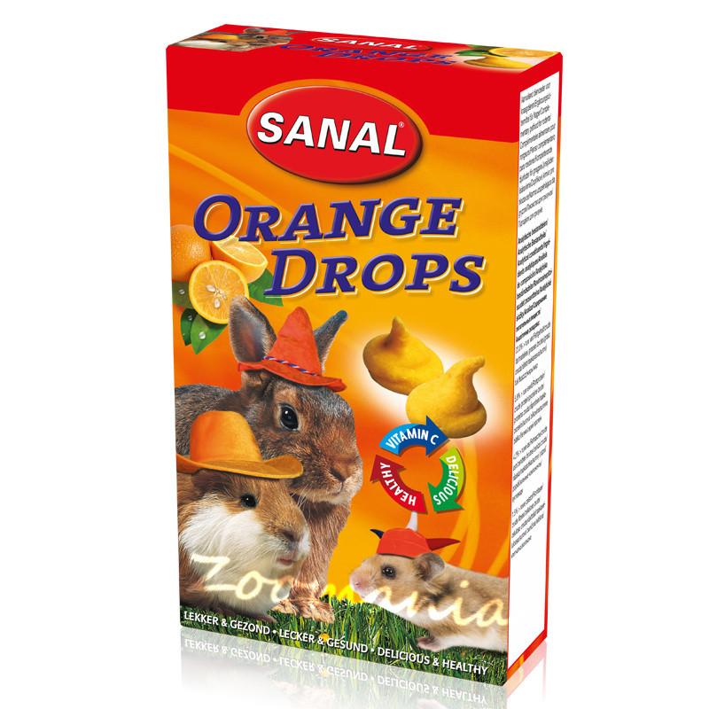 Лакомство за зайче, хамстер и морско свинче с портокал - Sanal Rodent Drops Orange - 45 гр