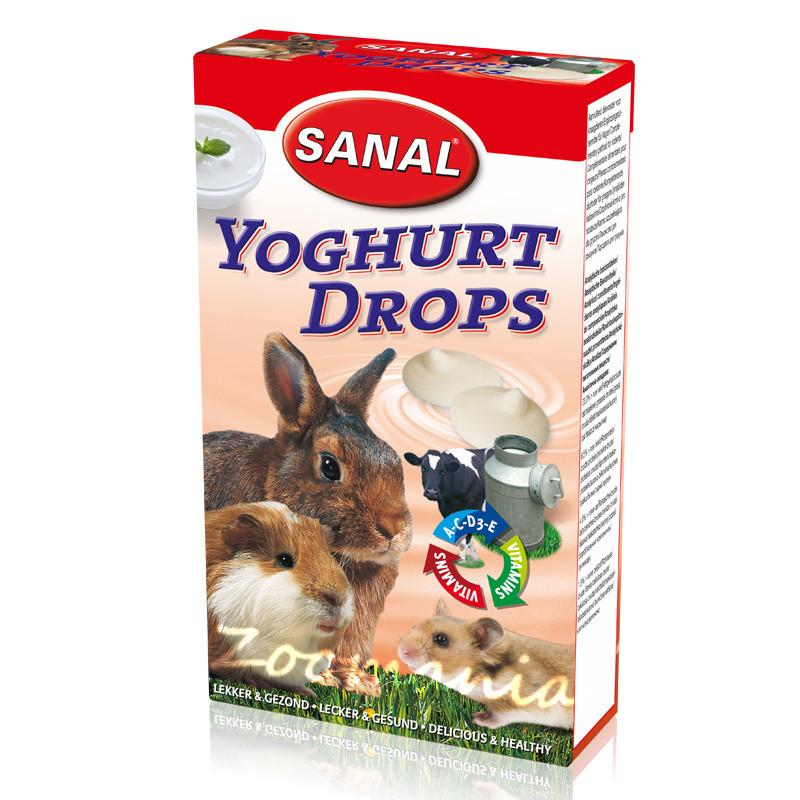 Лакомство за зайче, хамстер и морско свинче с кисело мляко - Sanal Rodent Drops Yoghurt - 45 гр