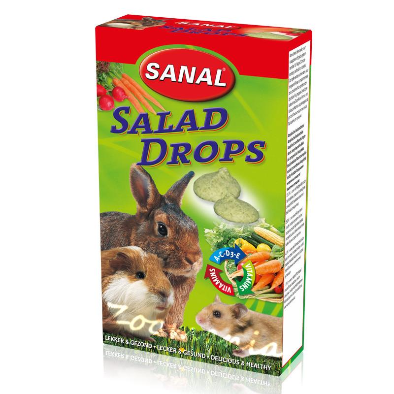 Лакомство за зайче, хамстер и морско свинче със зеленчукова салата - Sanal Rodent Drops Salad - 45 гр