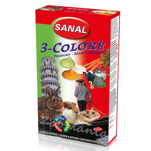 Лакомство за зайче, хамстер и морско свинче с йогурт, зеленчуци и моркови - Sanal Rodent Drops 3 Colore - 45 гр