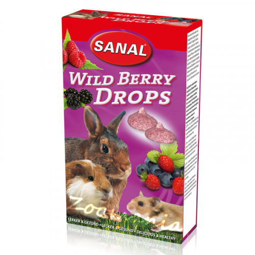 Лакомство за зайче, хамстер и морско свинче с диви боровинки - Sanal Rodent Drops Wild Berry - 45 гр