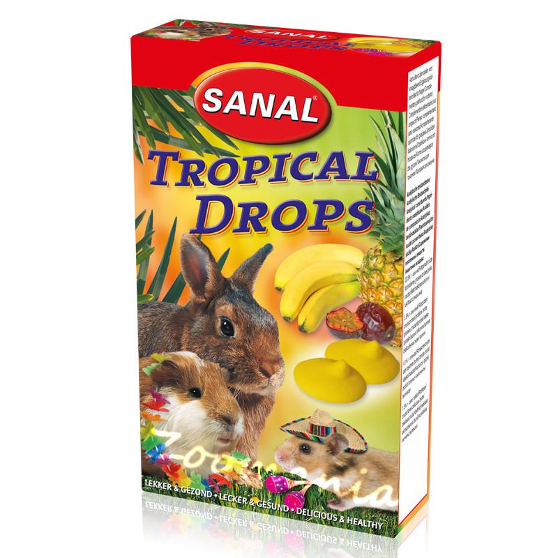 Лакомство за зайче, хамстер и морско свинче с тропически плодове - Sanal Rodent Drops Tropical Fruits - 45 гр