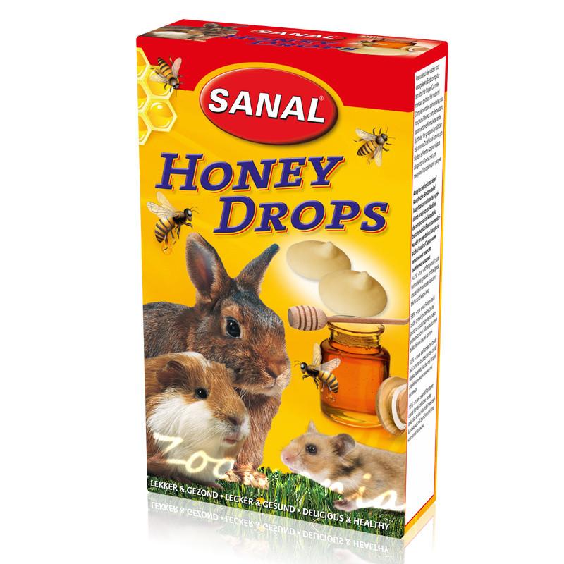 Лакомство за зайче, хамстер и морско свинче с мед - Sanal Rodent Drops Honey - 45 гр