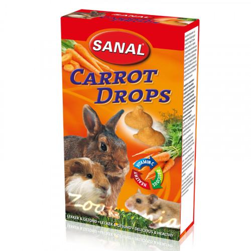 Лакомство за зайче, хамстер и морско свинче с моркови - Sanal Rodent Drops Carrot - 45 гр