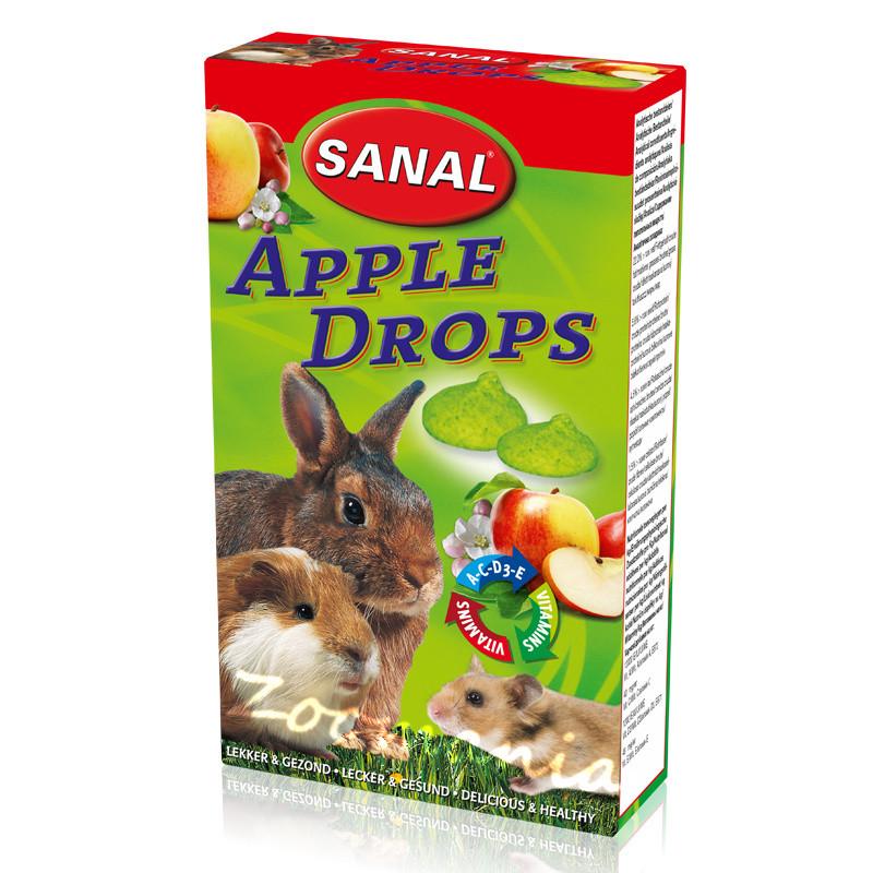 Лакомство за зайче, хамстер и морско свинче с ябълки - Sanal Rodent Drops Apple - 45 гр