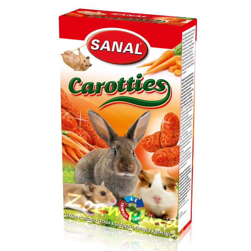 Лакомство за зайче, хамстер и морско свинче с моркови - Sanal Rodent Carotties - 45 гр