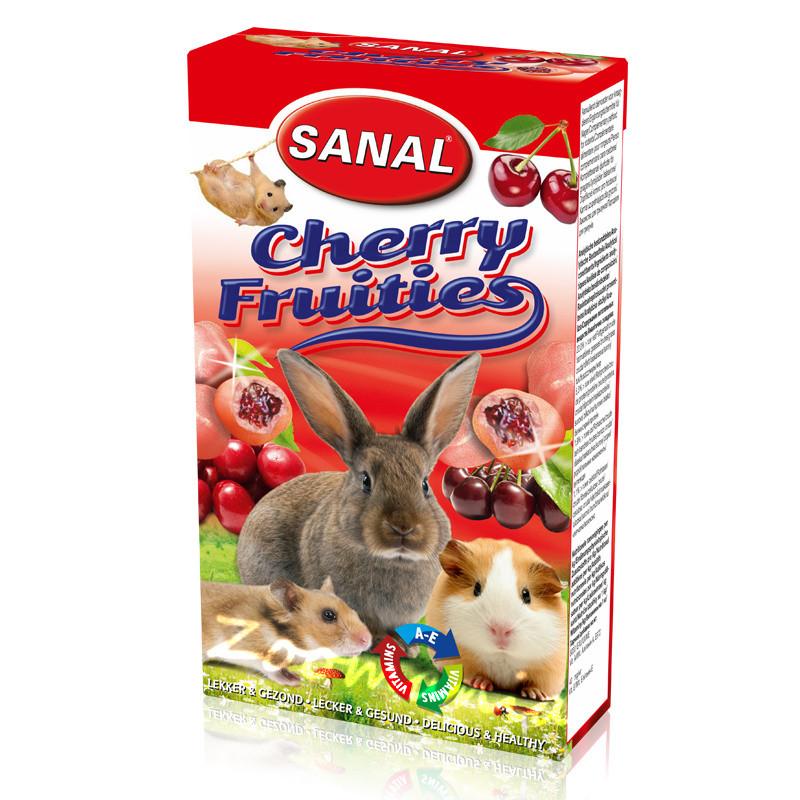 Лакомство за зайче, хамстер и морско свинче с череши - Sanal Rodent Cherry Fruities - 45 гр