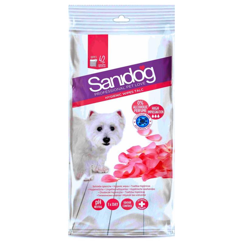 Мокри кучешки кърпички с талк - Sanidog Talc