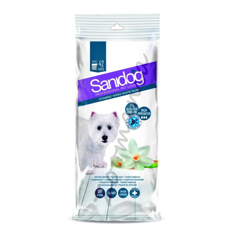 Кучешки мокри кърпички с аромат на бял мускус - Sanidog White Musc