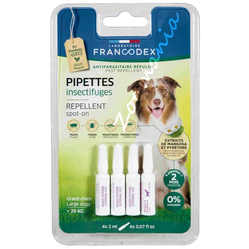4 бр противопаразитни пипети за кучета над 20 кг - Francodex Pipettes Repellent Dog