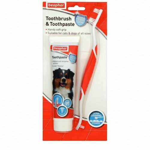 Кучешки комплект четка и паста за зъби
