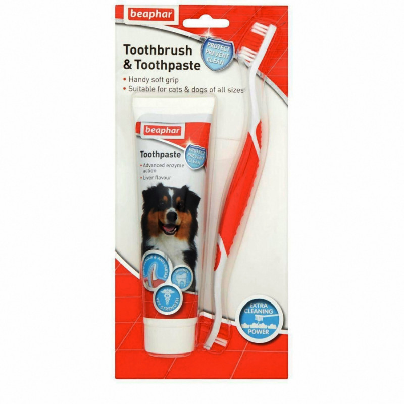 Комплект четка и паста за зъби за кучета и котки