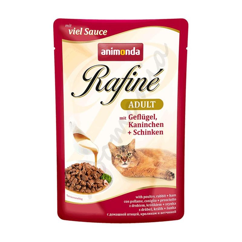 Rafiné® Cat Adult - качествена котешка храна с пилешко, заешко и шунка