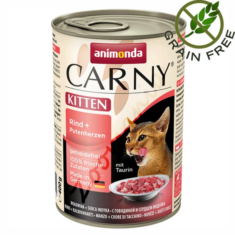 Качествена консервирана храна за котенца Carny® Kitten Говеждо и Пуешки Сърца - 400 гр