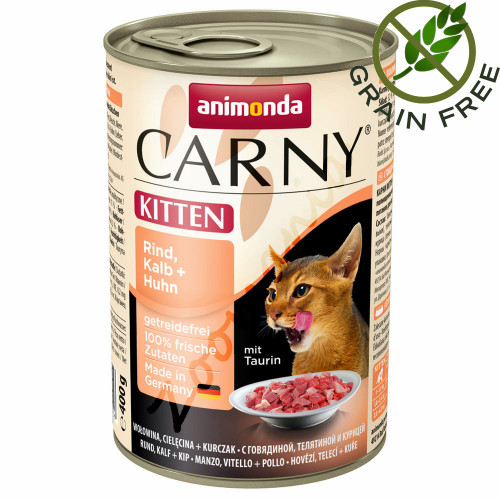Carny® Kitten Говеждо, Телешко и Пилешко - 400 гр