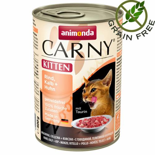 Качествена храна за котенца Carny® Kitten Говеждо, Телешко и Пилешко - 400 гр