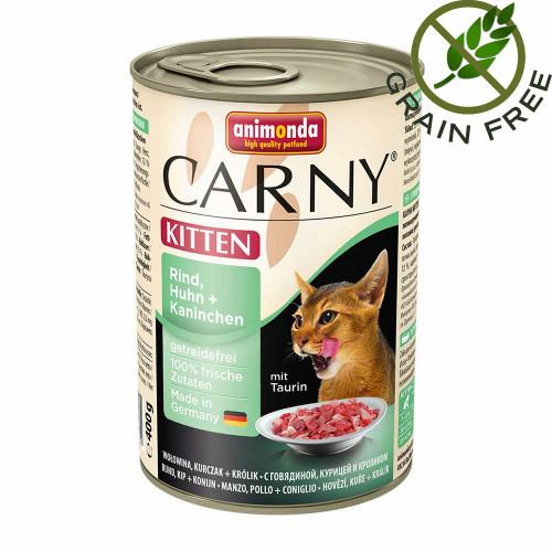 Висококачествена храна за котенца Carny® Kitten Говеждо, Пилешко и Заешко - 400 гр