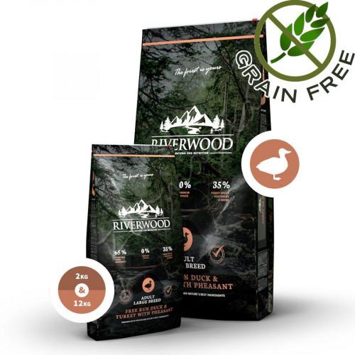 """Суха храна за кучета с ултра премиум качество Riverwood """"Duck & Turkey with Pheasant Adult Large"""" - 12 кг"""