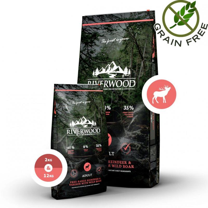 """Суха храна за кучета с ултра премиум качество Riverwood """"Reindeer & Venison with Boar Adult"""" - 12 кг"""
