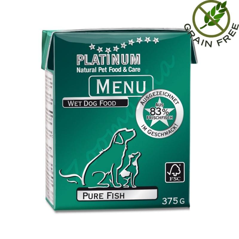 """Храна за кучета с ултра премиум качество - Задушено месо """"Platinum Menu Pure Fish"""" - 375 гр"""