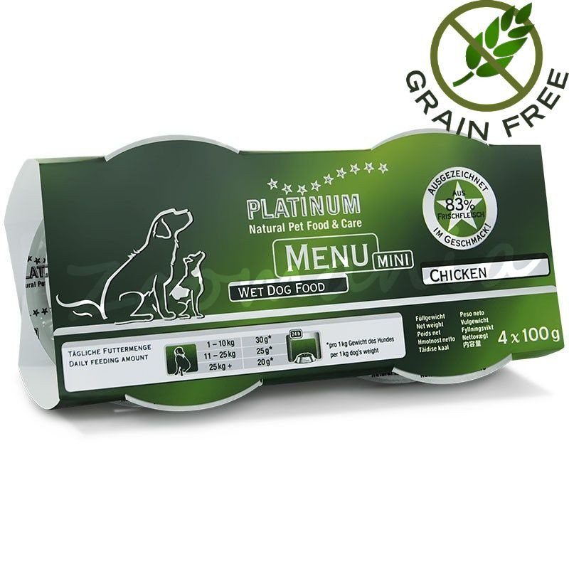 "Храна за кучета с ултра премиум качество - Задушено месо ""Platinum Menu Mini Chicken"" - 4 x 100 гр"