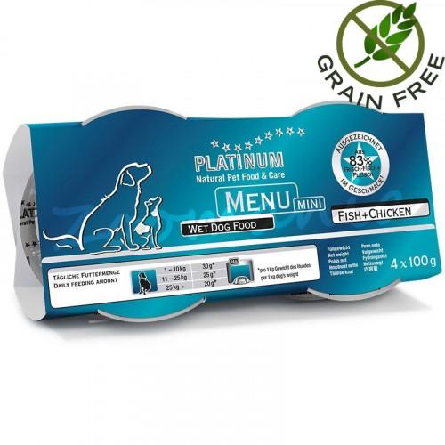 "Задушено месо ""Platinum Menu Mini Fish & Chicken"" - 4 x 100 гр"