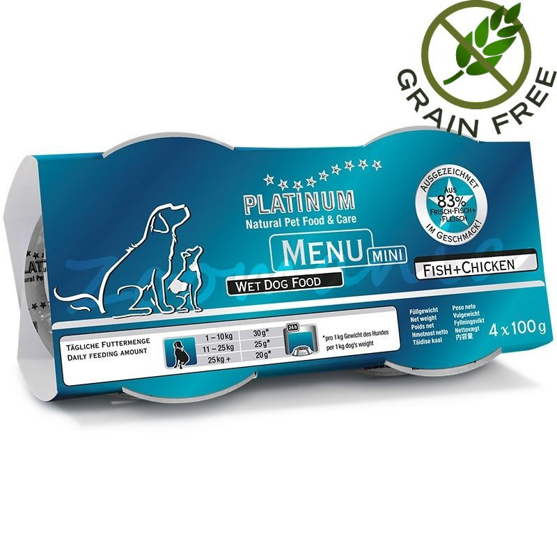 """Храна за кучета с ултра премиум качество - Задушено месо """"Platinum Menu Mini Fish & Chicken"""" - 4 x 100 гр"""