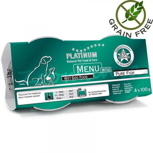 """Задушено месо """"Platinum Menu Mini Pure Fish"""" - 4 x 100 гр"""