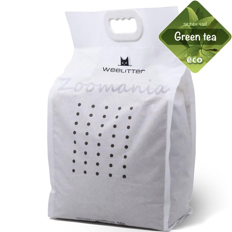 Натурална био разградима котешка тоалетна с аромат на зелен чай