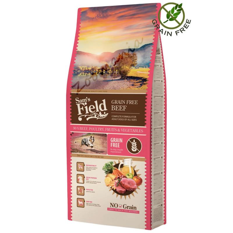 """Храна за кучета от висок клас - Sam's Field Grain Free """"Говеждо Ангъс"""" - 13 кг"""