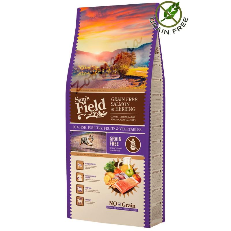 """Храна за кучета от висок клас - Sam's Field Grain Free """"Сьомга и херинга"""" - 13 кг"""